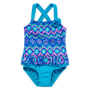 Angel Beach Print 1-Piece Swimsuit - Girls 7-16