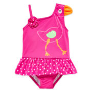 Baby Buns One-Piece Flamingo Swimsuit - Toddler Girls 2t-5t