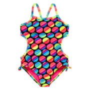 Angel Beach Dot Cut Out 1-Piece Swim Tank - Girls 7-16
