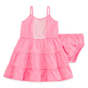 Arizona Sleeveless Tiered Dress with Bloomers - Baby Girls 3m-24m