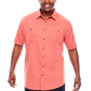 The Foundry Supply Co.™ Short-Sleeve Vintage Dobby Woven Shirt - Big & Tall