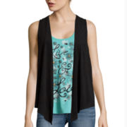 Self Esteem® Graphic Layered-Look Tank Top with Suede Vest