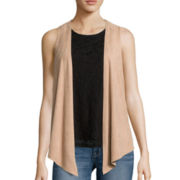 Self Esteem® Layered-Look Tank Top with Suede Vest