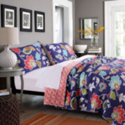 Greenland Home Fashions Phoebe Reversible Floral Quilt Set