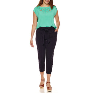 jcpenney.com | Liz Claiborne® Cap-Sleeve Cutout Yoke Tee or Cropped Pants