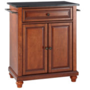 Pelham Small Black-Granite-Top Portable Kitchen Island