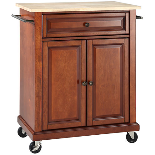 Wellman Natural-Wood-Top Kitchen Cart