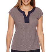 Liz Claiborne® Short-Sleeve Split-Neck Tee