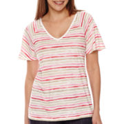 Liz Claiborne® Flutter-Sleeve V-Neck Tee