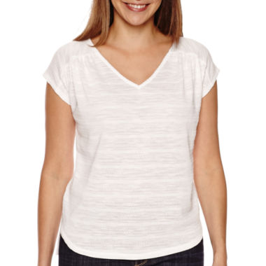 jcpenney.com | Liz Claiborne® Short-Sleeve Striped V-Neck Tee - Tall
