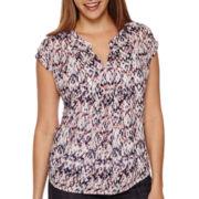 Liz Claiborne® Short-Sleeve Popover Bib Blouse - Tall