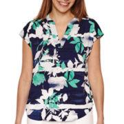 Liz Claiborne® Sleeveless Split Neck Garden Print Blouse