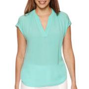 Liz Claiborne® Extended-Shoulder Split-Neck Top - Tall