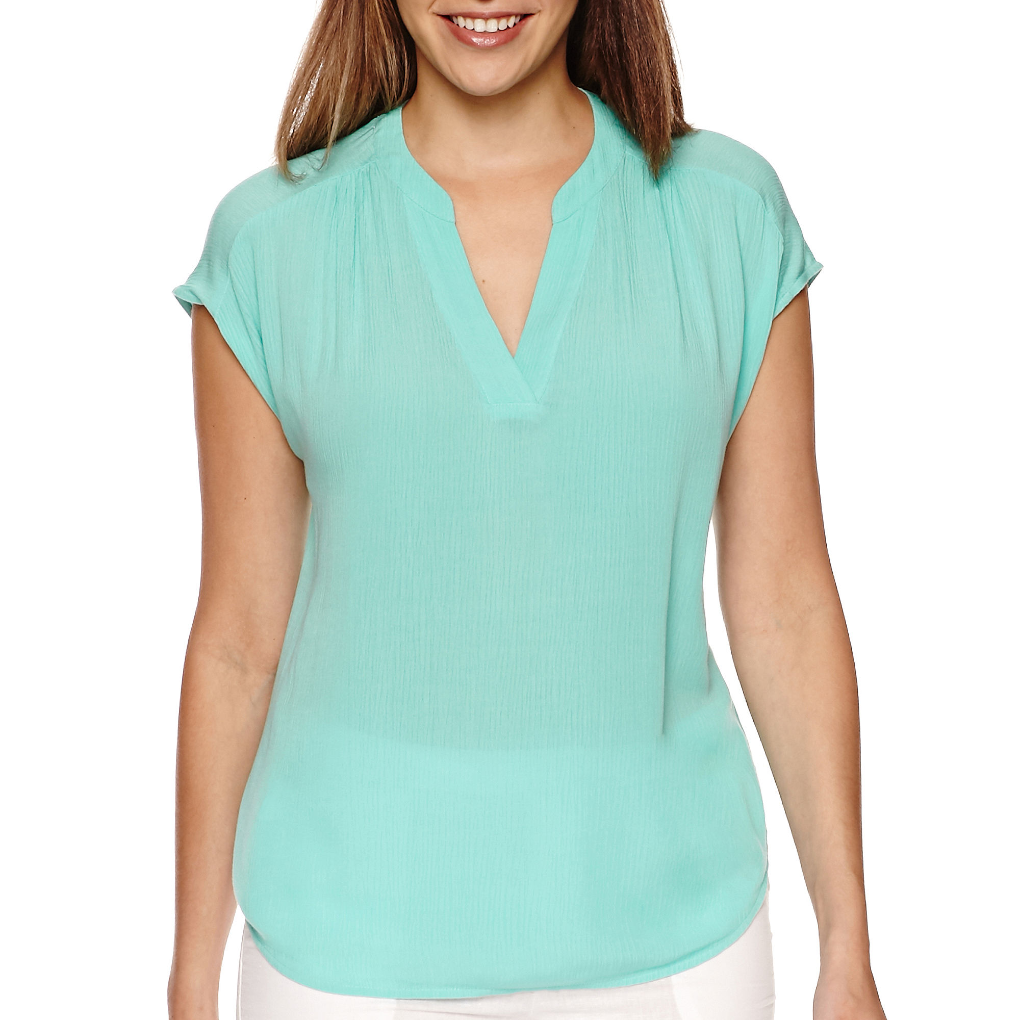 Liz Claiborne Extended-Shoulder Split-Neck Top - Tall plus size,  plus size fashion plus size appare