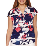 Liz Claiborne® Sleeveless Extended Shoulder Print Top - Tall