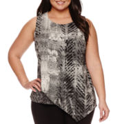 Worthington® Asymmetrical Printed Tank Top - Plus