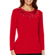 Alfred Dunner® 3/4-Sleeve Sequin Sweater