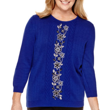 jcpenney.com | Alfred Dunner® Madrid 3/4-Sleeve Embroidered Sweater
