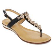 GC Waterlillies T-Strap Jeweled Flat Sandals