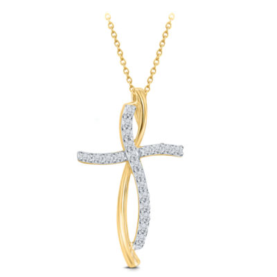Womens 1/4 Ct. T.W. Genuine White Diamond 10 K Gold Cross Pendant Necklace by Fine Jewelry