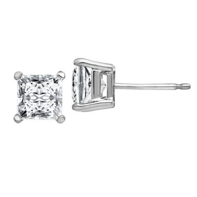 Fine Jewelry 1 3/8 CT. T.W. White Moissanite 14K Gold 5mm Square Stud Earrings 8TsMiWmoVH