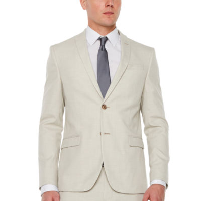 Jf J.Ferrar Light Tan Slub Super Slim Fit Stretch Suit Jacket by Jf J.Ferrar