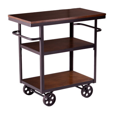 Andley Wood Top Kitchen Island Ka3278 Color Black And Espresso Jcpenney