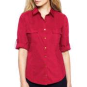 Worthington® Roll-Sleeve Belted Poplin Shirt