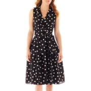 Jessica Howard Sleeveless Polka Dot Shirt Dress
