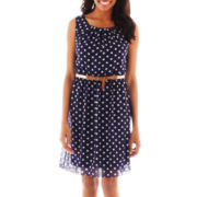 Alyx® Sleeveless Belted Polka Dot Dress