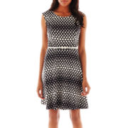 Alyx® Cap-Sleeve Polka Dot Fit-and-Flare Dress