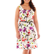 Alyx® Sleeveless Belted Floral Fit-and-Flare Dress - Plus