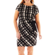Danny & Nicole® Short-Sleeve Tie-Waist Ruched Dress - Plus