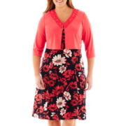 Danny & Nicole® Floral Dress with Jacket - Plus
