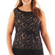 Blu Sage Sleeveless Illusion Cutout Top - Plus