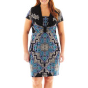 Danny & Nicole® Short-Sleeve Knot-Front Dress - Plus