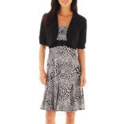 Perceptions Leaf Print Dress with Jacket - Petite