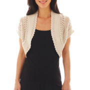 Robbie Bee® Short-Sleeve Crochet Shrug - Petite