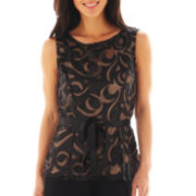 Blu Sage Sleeveless Laser-Cut Top - Petite