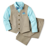 Khaki Vest, Shirt, Pants and Tie Set - Boys 12m-24m