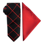 JF J. Ferrar® Grid Slim Tie and Solid Pocket Square Set