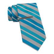 JF J. Ferrar® Boom Stripe Tie and Tie Bar Set - Slim