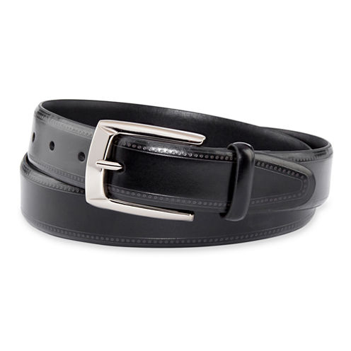 Van Heusen® Black Feather-Edge Stitch Belt