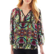 nicole by Nicole Miller® Border Print Peasant Top