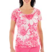 Lark Lane® Garden Party Short-Sleeve Daisy Print Top with Tank Top