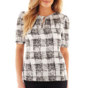 Liz Claiborne Short-Sleeve Print Blouse - Tall