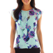 Liz Claiborne Sleeveless Bowtie Blouse with Cami - Tall
