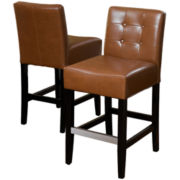 Everette Set of 2 Tufted Bonded Leather Barstools