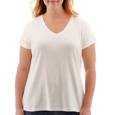 jcpenney.com | St. John's Bay® Short-Sleeve V-Neck T-Shirt - Plus