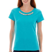 St. John's Bay® Short-Sleeve Jeweled T-Shirt